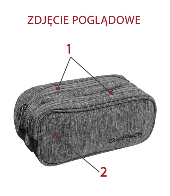 Pencil case Coolpack Clever Gray shadow 48286CP No. 195