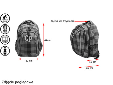 School backpack Coolpack Combo Cranbeery check 77095CP nr 632