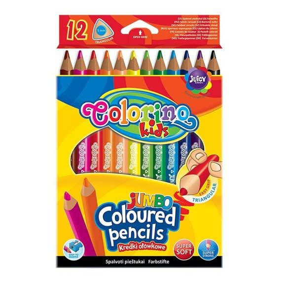 Triangular coloured pencils JUMBO 12 colours
